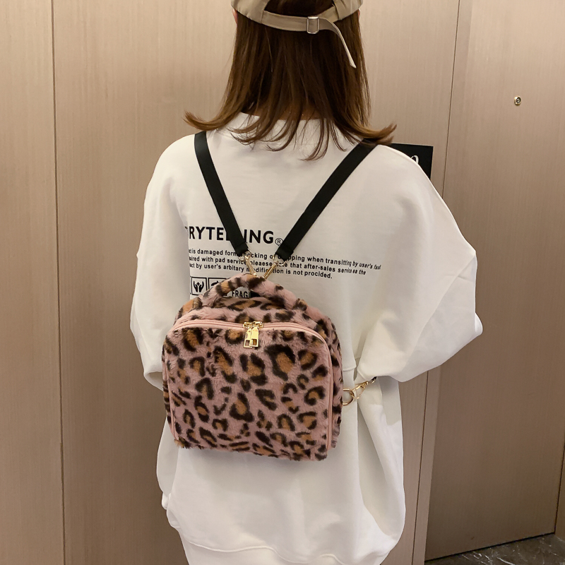 2019 Fashion Leopard Plush Backpack Small Mini Bag Large Capacity Leisure Backpack Winter Tong Bag Travel Backpack