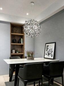 Image 3 - Lampe suspendue en acier inoxydable, couleur gris argent pendentif led, design moderne, éclairage décoratif de plafond, idéal pour une salle à manger, un restaurant ou un restaurant
