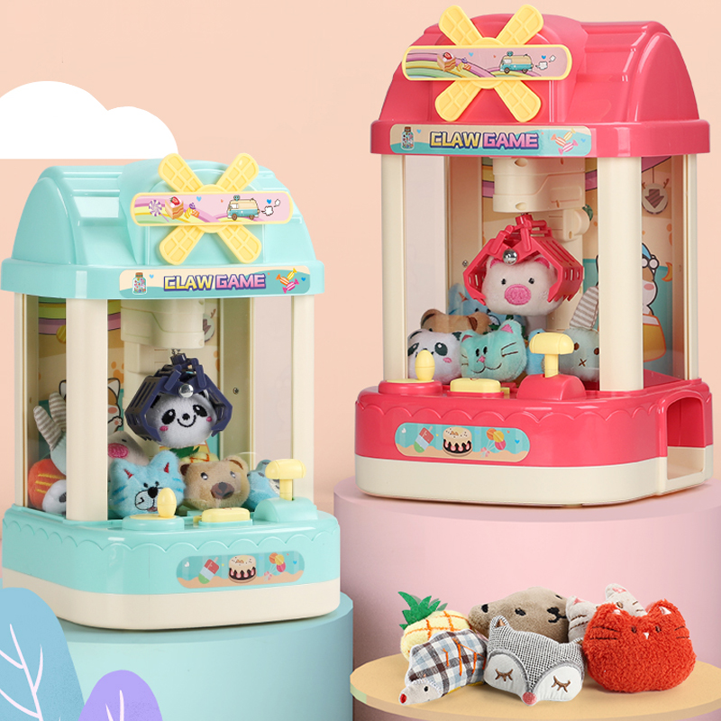 Kids Doll Catcher Claw Machine Coin Operated Candy Grabber Game Music Alarm Clock Mini Arcade Machine Desktop Gift For Children