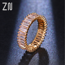 ZN Champagne Gold Color Unique Design CZ Ring Paved Austrian AAA Zircon Finger Rings For Women Fashion Women Ring Jewelry Gift blucome luxury aaa zircon copper ring clear cz micro pave gold color rings for women flower big long section finger ring wedding