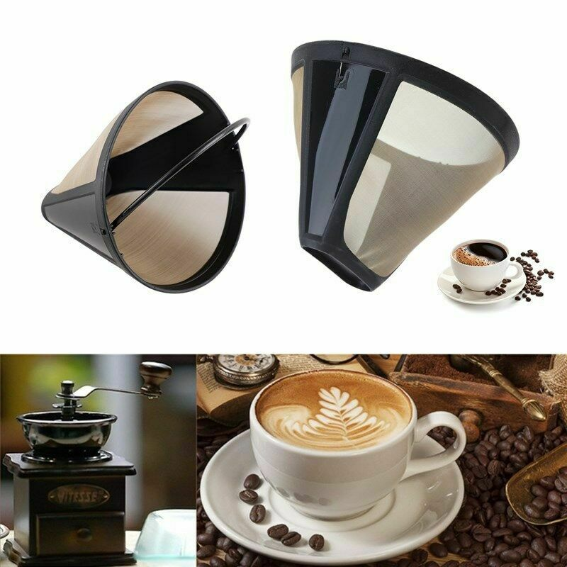 2020 Newest 1pc Reusable Coffee Filter Stainless Steel Kitchenware Cone-Style Coffee Filter Stainless Steel Coffee Strainer