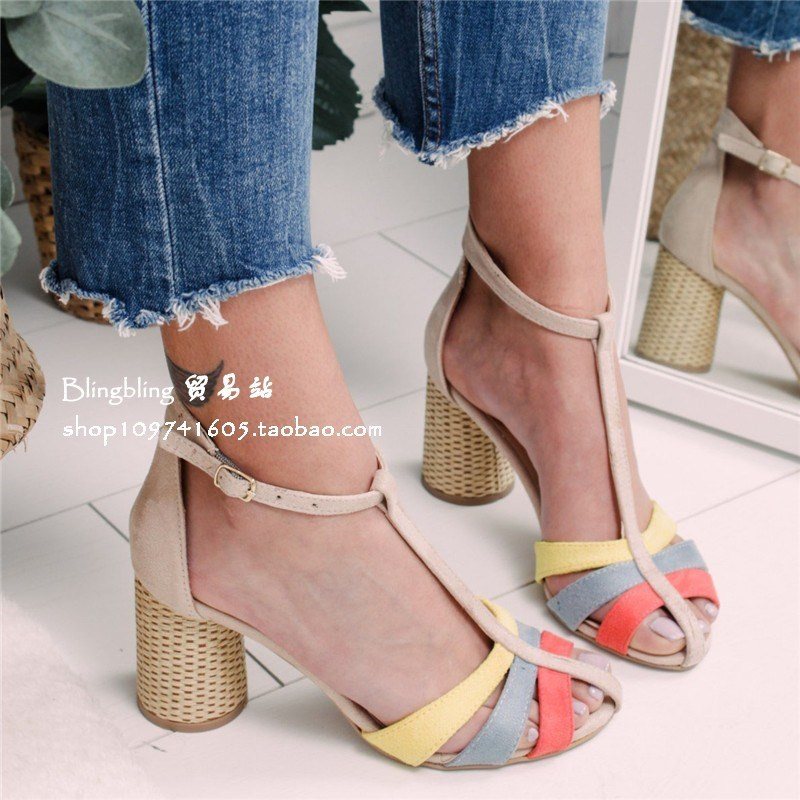 Crystal Sexy Women Sandals Square Heel Buckle Strap Gladiator Women Sandals Stiletto Sandalias Mujer Peep Toe Chunky Heel Sandal