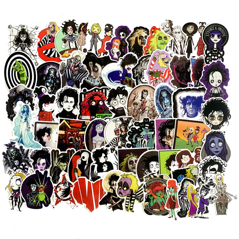 61pcs Stickers Tim Burton Classic Movie Edward Scissorhands Graffiti Sticker For Skateboard Laptop Bicycle Waterproof Decals F4