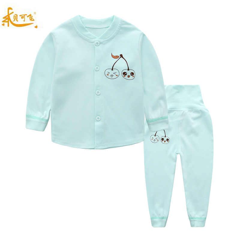 Childrenswear Phong Cách Mới 40 Chải Nguyên Chất Cotton Trẻ Em Cao Cấp Bộ Đồ Lót Bé Từ 0-3 Tuổi Cardigan quần Lót Phù Hợp Với