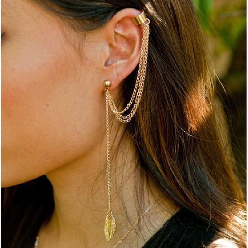 1pcs โลหะคลิปหู Leaf Tassel ต่างหูหูเครื่องประดับ Gold Silver สี Vintage คลิปต่างหู Brincos bijoux ของขวัญ