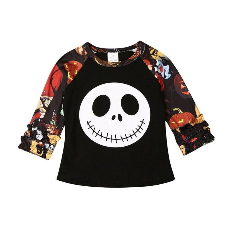 T-Shirt Tees Tops Long-Sleeve Halloween Ruffles Newborn Toddler Baby-Girls Kids Casual