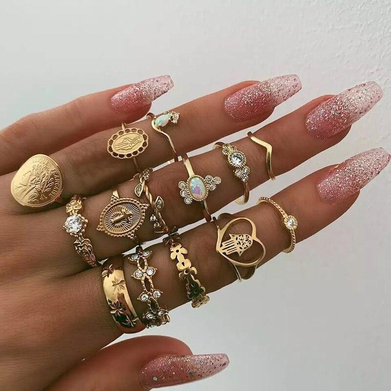 Docona 15pcs/set Bohemian Gold Virgin Mary Heart Flower Kunckle Midi Ring Set For Women Crystal Geometric Jewelry Anillo 7056