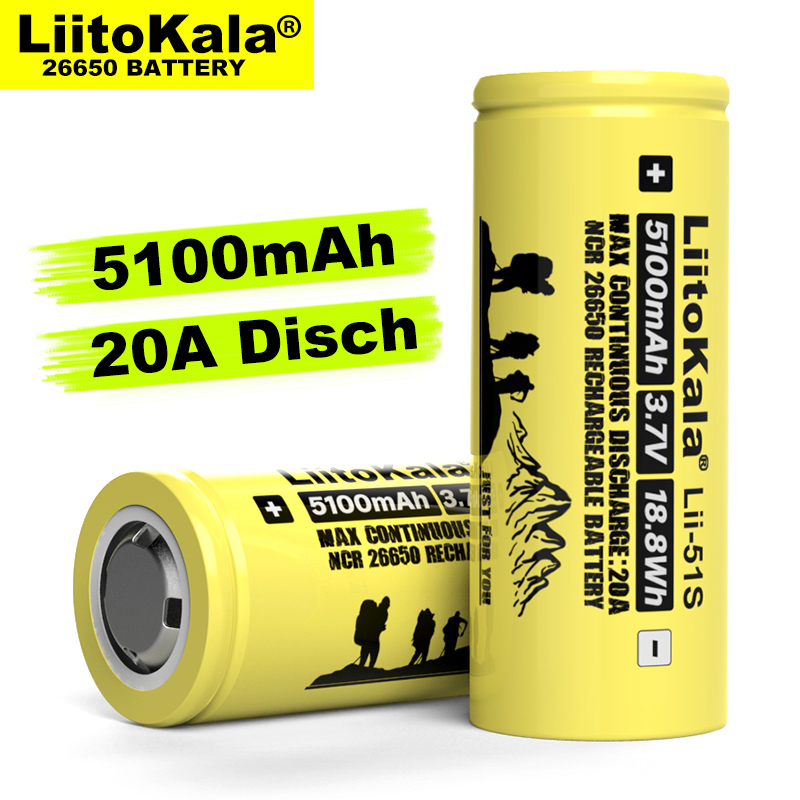 1-10 sztuk Liitokala LII-51S 26650 20A moc akumulator litowy wielokrotnego ładowania 26650A , 3.7V 5100mA. Nadaje się do latarki