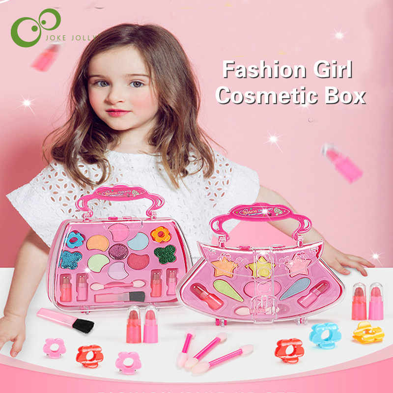 New Pretend Play Girls Cosmetics Kit Environmental Toys Makeup Set Preschool Kid Beauty Safety Toy For Kids Makeup ZXH