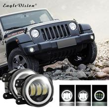 2PCS 4Inch Round Angel Eyes Led Fog Lights 30W 6000K White Halo Ring DRL Off Road Fog Lamps For Jeep Wrangler JK Grand Cherokee 4 round rgb led fog lights drl angel eye halo ring bluetooth phone auto drl car light lamp for jeep wrangler off road suv