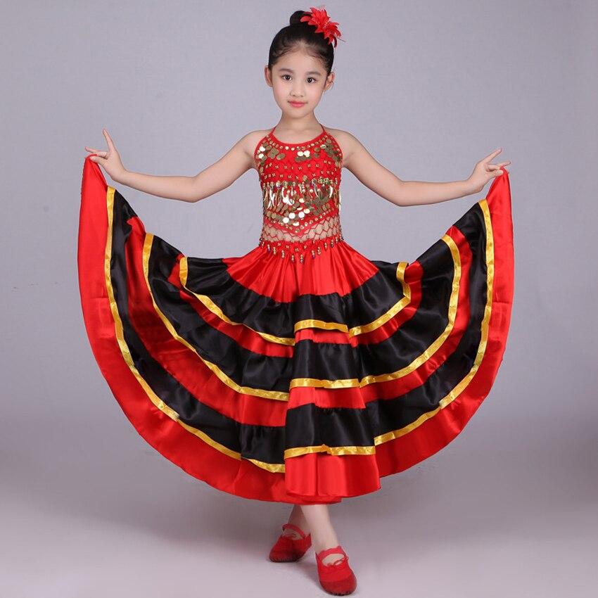 Halloween School Party Dance Costumes Kids Girls Flamenco Skirt Red Black Spanish Traditional Performance Sequin Vest