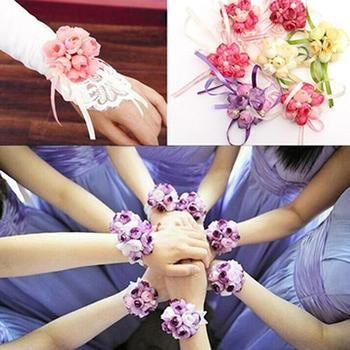 Women Wrist Flower Bracelet Bridesmaid Sisters Wedding Party Bridal Prom Wearing for bridesmaid sisters image