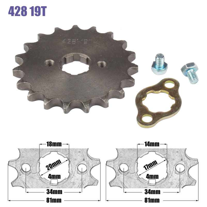 428 Chain 19T 17mm 20mm Front Engine Sprocket For 50cc to <font><b>125cc</b></font> Dirt Bike ATV Go Kart Quad <font><b>Pitbike</b></font> Buggy Motorcycle image
