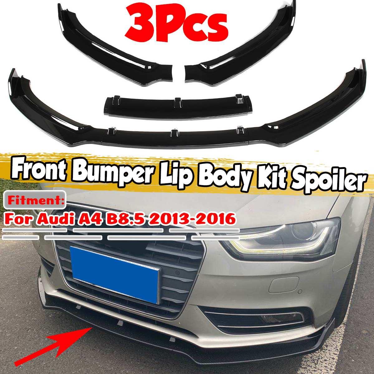 Novo 3 pçs a4 b8.5 amortecedor dianteiro do carro splitter spoiler difusor protetor corpo kit spoiler para audi a4 b8.5 2013 2014 2015 2016|Amortecedores|   -