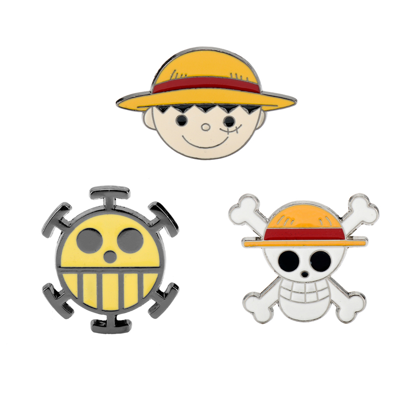 Cartoon ONE PIECE Metal Badge Brooch Skull Head Luffy Figure Funny Face Enamel <font><b>Button</b></font> <font><b>Pins</b></font> Clothes <font><b>Pin</b></font> Jewelry Decoration Gifts image