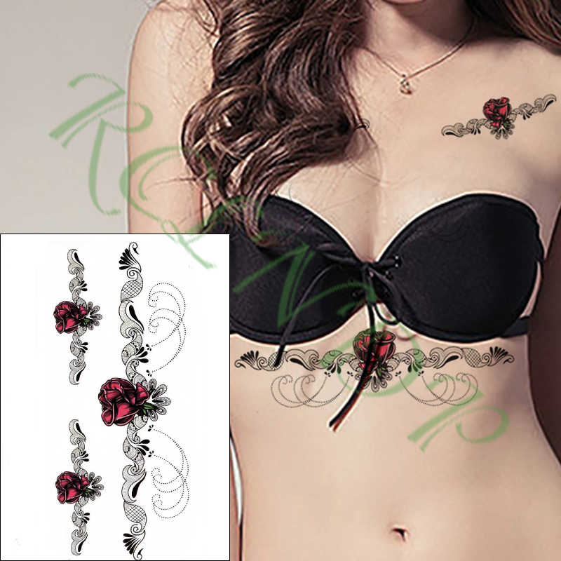 Wodoodporna tymczasowa naklejka tatuaż rose naszyjnik kwiatowy klatki piersiowej talii tatto naklejki flash tatuaż fałszywy tatuaż dla kobiet mężczyzn dziewczyna