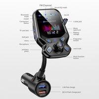 fm משדר AOSHIKE Bluetooth Car Kit דיבורית FM משדר אלחוטי נגן MP3 AUX אודיו המקלט עם 2 יציאות USB 3.0 QC Quick Charge (5)