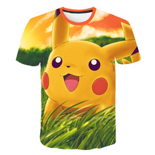 POKEMON T-Shirt for Children Boys breathable Costume Summer T-shirt Fabric boys Girl Kids Clothes Cute Tops Quality