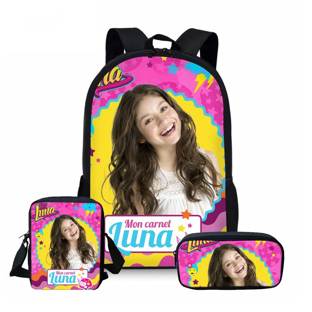 ThiKin School Bags For Teenager Girls Soy Luna Travel Backpacks Kids Schoolbag Backpack 3pcs Schoolbags Mochila Infantil