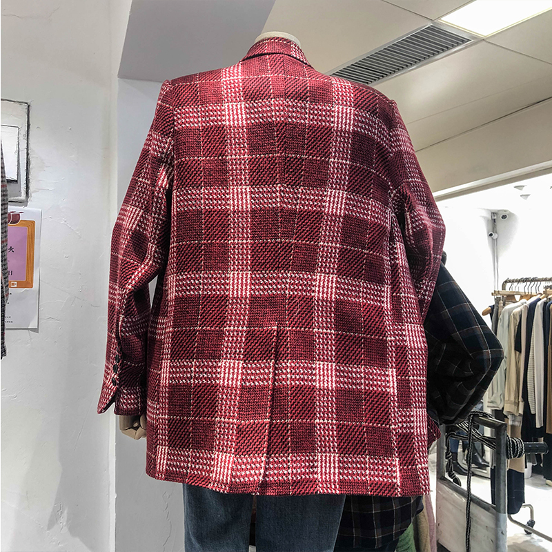 Stylish Plaid Ladies Blazer Red Simple Loose Casual Suit Jacket Long Sleeve Abrigos Mujer Retro Korean Women's Clothing MM60NXZ