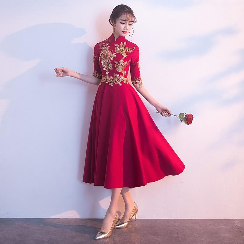 New Sexy Standing Collar  Sequins  Flower Bird Embroidery Handmade Button Improved Qipao  Evening Dress  Party Dress   Vestidos