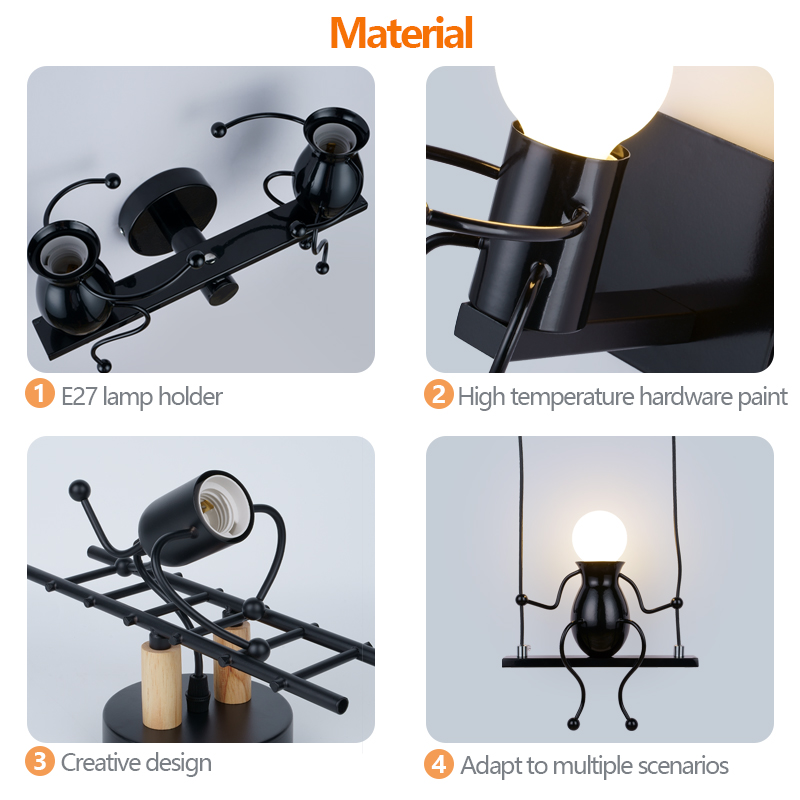 Modern Cartoon Doll Wall Light Fixtures LED Creative Mounted Iron  Bedside Sconce Lamp for Kids Baby Room Living Room ZBD0008 4
