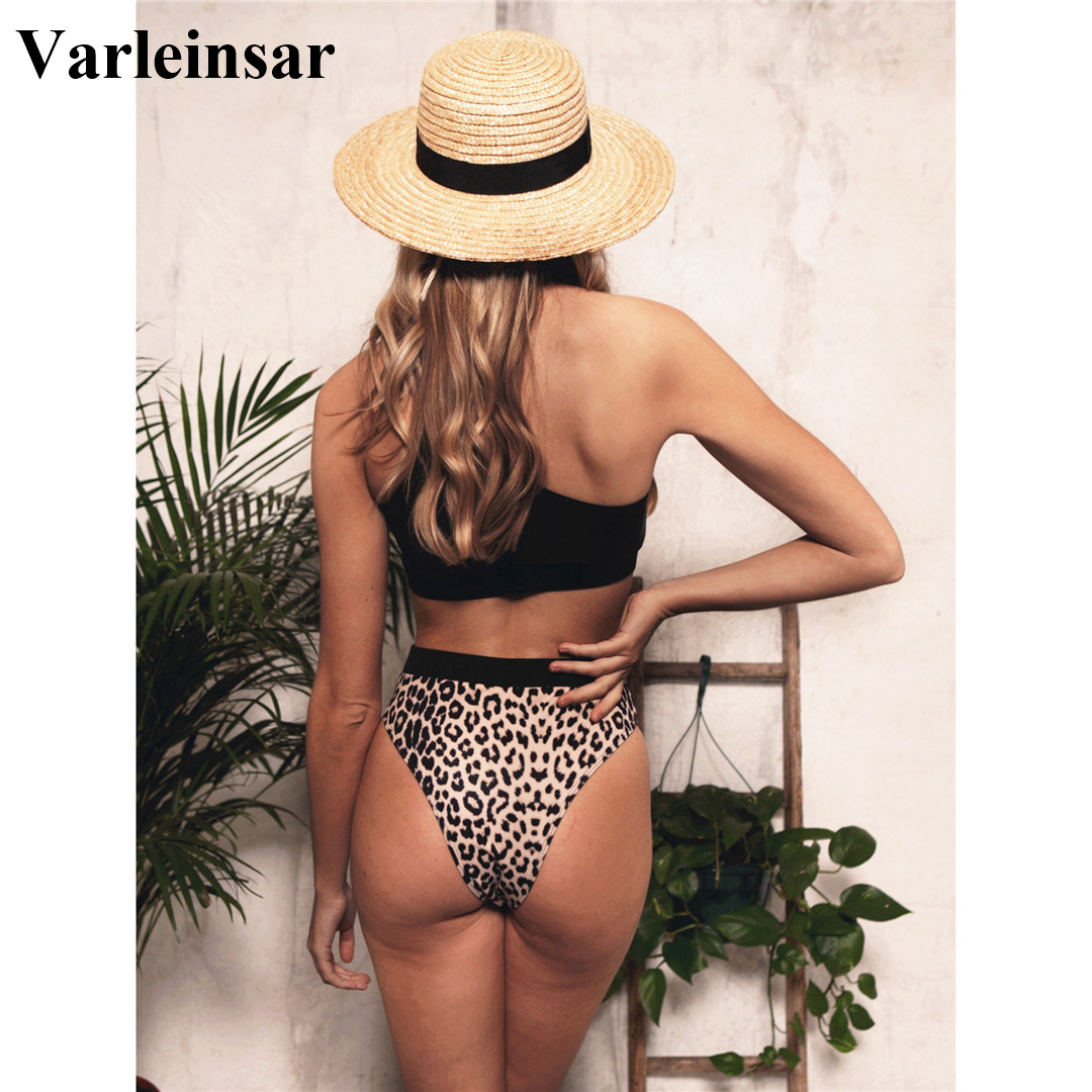 2020 NEW Sexy One Shoulder Bikini High Waist Swimsuit Women Swimwear Bikini set Leopard Bather Bathing Suit Swim Wear Lady V1846 2