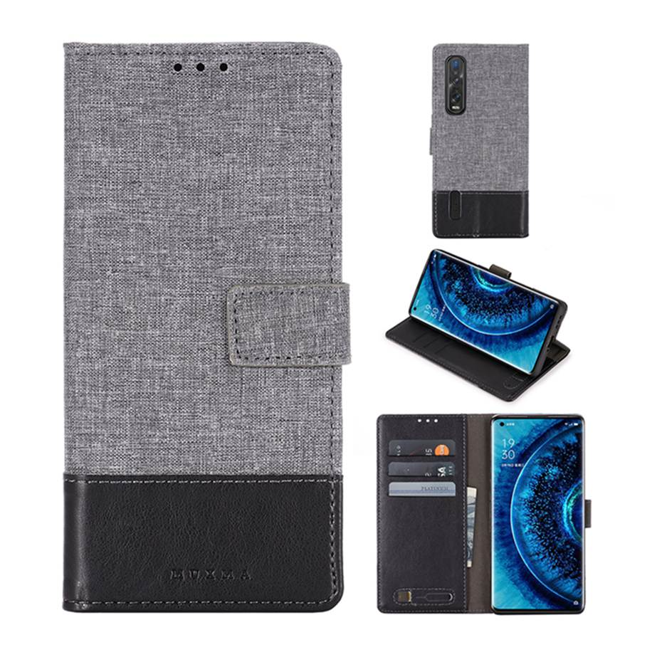 Denim Mixed Colors Leather Flip Case For <font><b>OPPO</b></font> Find X2 Pro <font><b>Phone</b></font> Case For <font><b>OPPO</b></font> <font><b>Realme</b></font> X50 Reno <font><b>3</b></font> Pro Wallet Cover Capa image