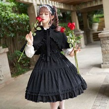 Lolita-Dress Cloak Black Vintage Gothic Plus-Size JSK Girls Women Bow Red with for Lady