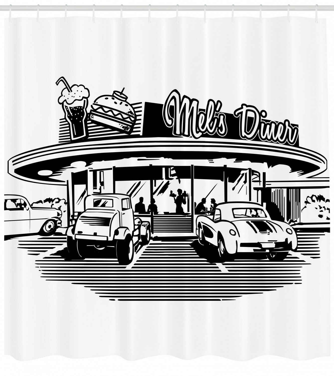 Illustration Of Retro Diner With Vintage Cars 50 S Themed Shower Curtain Set Aliexpress