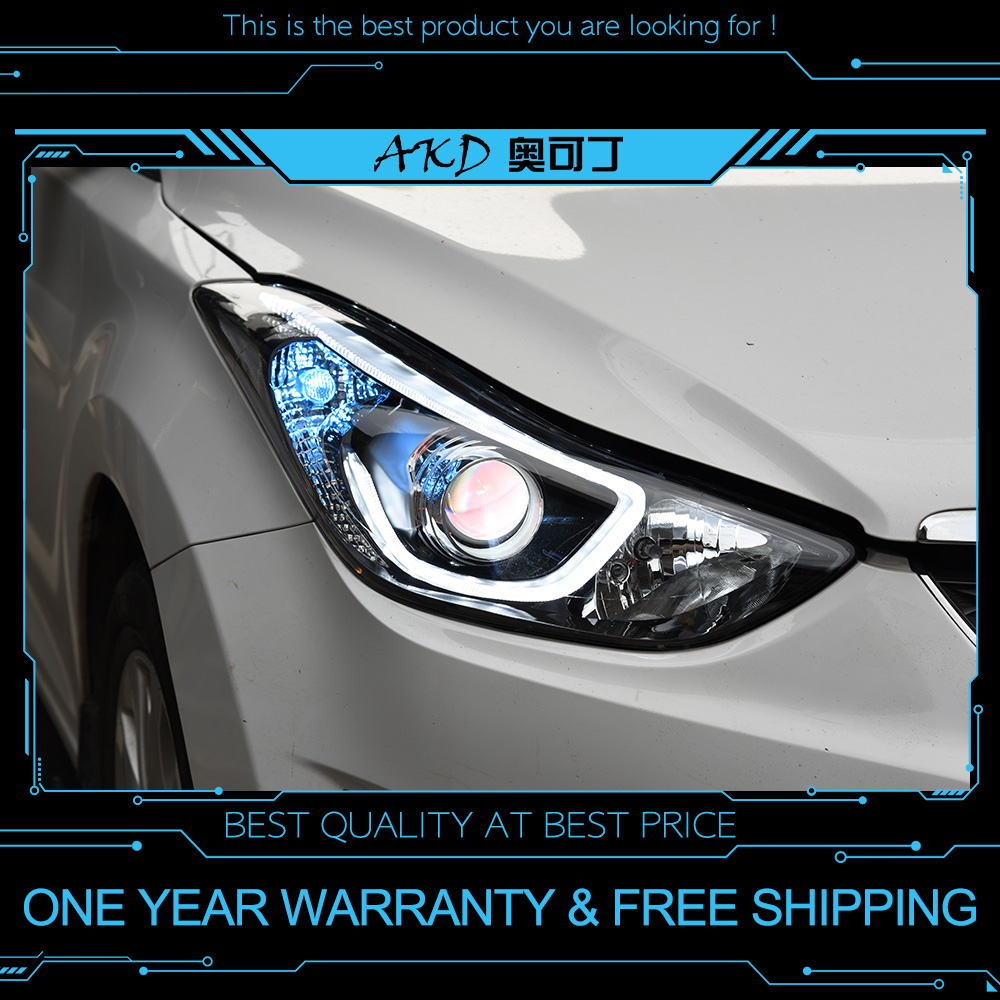 AKD Tuning Cars Headlight For Hyundai Elantra 2012-2016 Headlights LED DRL Running Lights Bi-Xenon Beam Fog Lights Angel Eyes