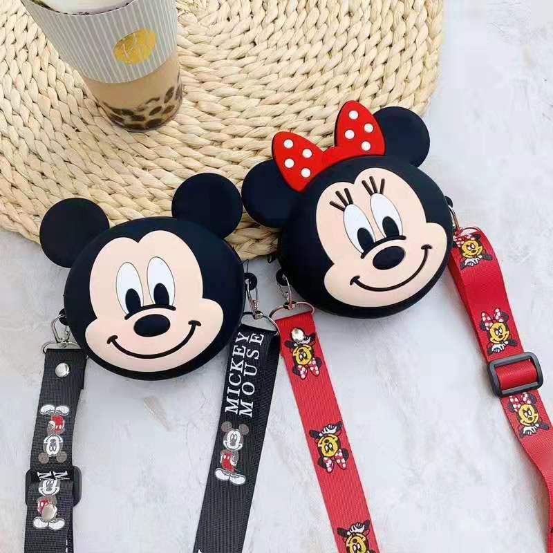 Disney mickey maus Neue Geldbörse dame minnie schulter umhängetasche Nette Karte Tasche Karte Pack Cartoon Silikon Lagerung Tasche
