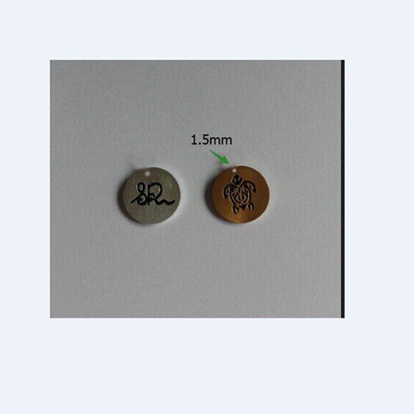 V attirer 100 pcs/lot chaîne en acier inoxydable colliers ronds pendentifs petite tortue logo or couleur cadeau d'anniversaire