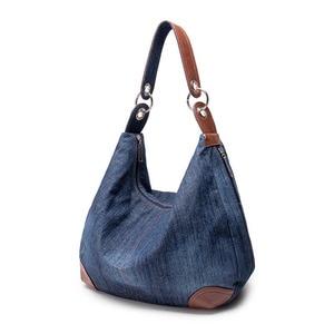 Image 2 - אופנה נשים סיבתי שקיות גבירותיי ינס תיק גדול כתף שקיות כחול ג ינס Tote Mujer Bolsa חמוד מעצב נשי גדול בציר
