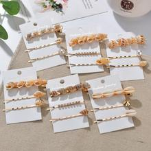 Hello Miss Beach wind hairpin fashion simple natural conch shell pearl word clip side womens hair jewelry