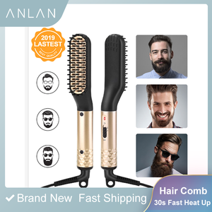 Image 1 - Hair Straightener Comb Durable Electric Straight Hair Comb Brush LCD Heated Ceramic Hair Straightening Brush Electric brush
