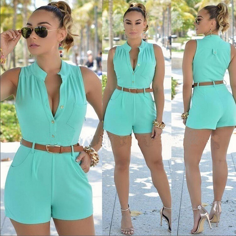 Candy Color Women Jumpsuit Kort  Summer Women Sleeveless Playsuit Casual Sexy Lady Belted Button Romper Overalls Combishorts