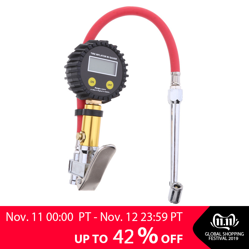 Digital Tire Tyre Inflator High Accurate Pressure Gauge Tester Air Compressor Pump Universal For Most Vehicles, Cars, Moto
