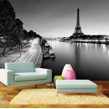 Custom 3d Wallcovering Wallpaper 3D Paris Tower Simple Black and White Landscape Painting Home Decor Classic Mural Wallpaper