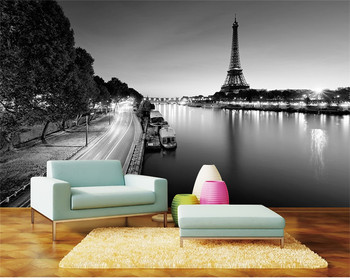 Custom Photo Wallpaper 3D Paris Tower Simple Black and White Landscape Painting Interior Background Wall   Wallpaper interior landscape