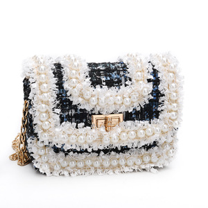 Image 4 - Korean Style Women Woolen Cross Body Bags Cute Girls Princess Purses and Handbags Baby Pearl Clutch Purse