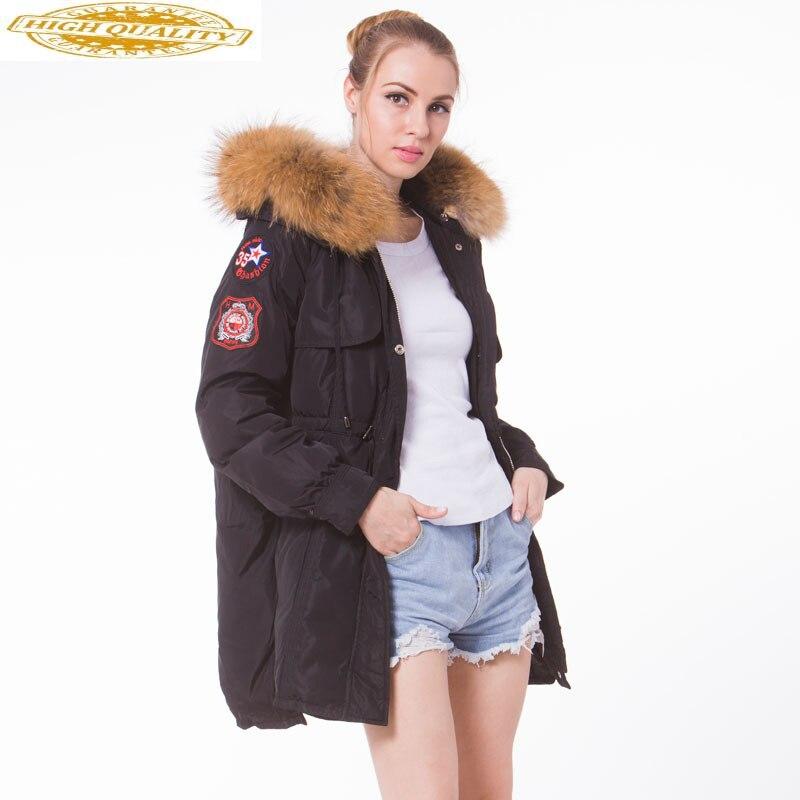 Korean White Duck Down Jacket Woman Hooded Long Winter Coat Women Racoon Fur Collar Long Parka Chamarras De Mujer KJ734