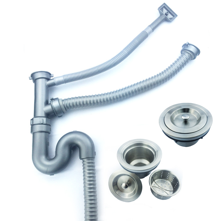 Kitchen Sink Double Sink Drainer Deodorizing Stainless Steel Sink Sewer Pipe Sink Accessories Waterlet Double Headed Sink