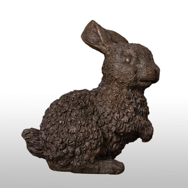 Pure Bronze Rabbit Statue Animal Figurine Wild Hare Sculpture Chinese Zodiac Feng Shui Vintage Art Decor