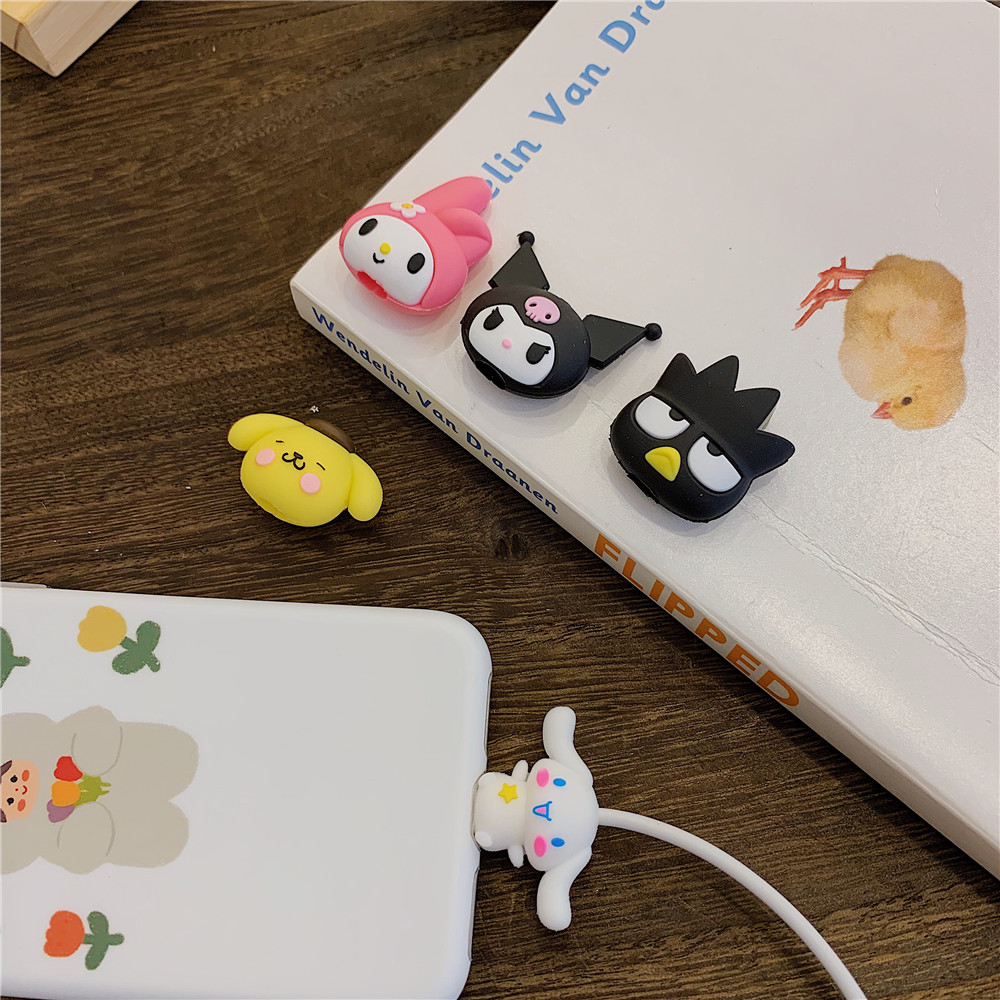 Sanrio My Melody Kuromi Silicone Cable Protector Pom Pom Purin Cinnamoroll Dog Hello Kitty Cute Cartoon Anime Line Protector