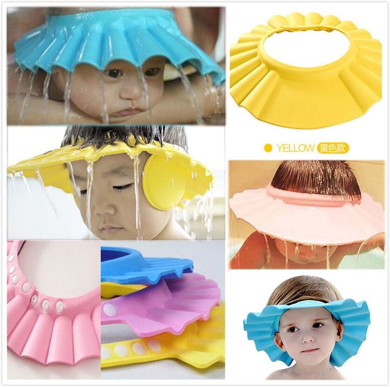 MoreLove Baby Store New Children Can Adjust Shampoo Hat Adjust Earmuffs Hat Shower Cap Earmuffs Wash Hair Hat Baby Sun Hat