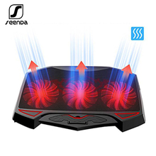 цена на Seenda 3 Fans Laptop Cooler Laptop Cooling Pad Dual USB Adjustable Notebook Holder for Laptop PC