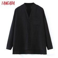 Tangada kadınlar temel siyah gömlek uzun kollu katı V boyun zarif ofis bayanlar İş elbisesi bluzlar SSL522