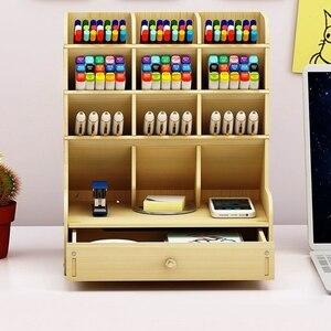 Image 3 - 13 rejillas de madera multifunción soporte de escritorio almacenamiento pincel cosmético caja para lápiz cosmético cepillo Estante de presentación de joyería