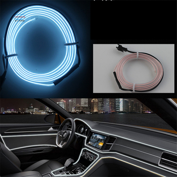 JXF Car Lights Signal Decorative Lamp 1-5 M interior led wire rope tube line flexible neon glow el salon flat strip decoration image